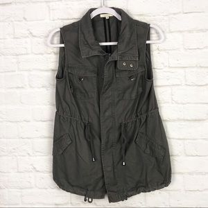Pleione Gray Anorak Utility Adjustable Long Vest